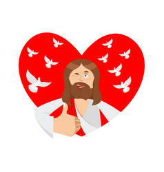 Love of jesus christ and heart thumb up biblical vector