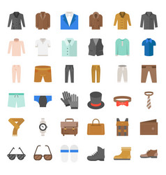 male clothes and accessories icon set 3 flat vector image