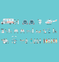 Medical service with medical staff and patients vector