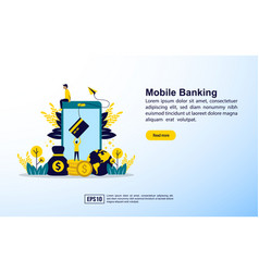 mobile banking concept with icon and character vector image
