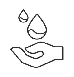 modern line icon with hand and drop of water vector image