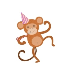 Monkey Cute Animal Character Attending Birthday vector