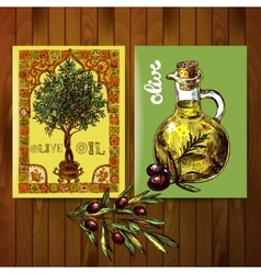 olive oil and olives vector image