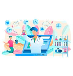 Online doctor telemedicine laboratory vector