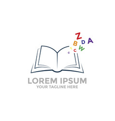 open book logo template with colored letter vector image