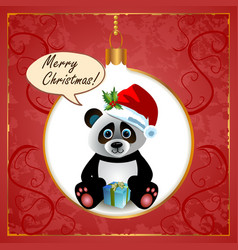 Panda Christmas Card vector image