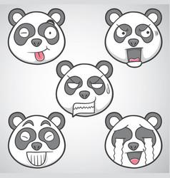 Panda emoticons set 3 vector