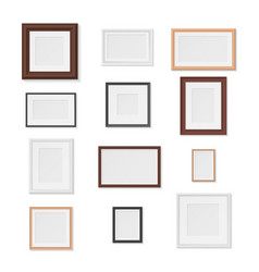 pictures frames variety on wall realistic mockup vector image