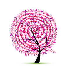 pink tree with leaf spiral ornament vector image