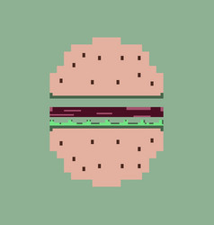 pixel icon in flat style hamburger vector image