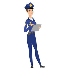 police woman in uniform writing on clipboard vector image