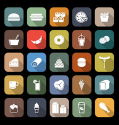 popular food flat icons with long shadow vector image