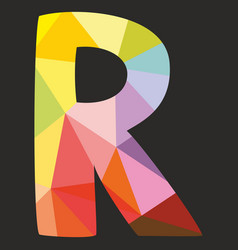 R low poly colorful alphabet letter isolated vector