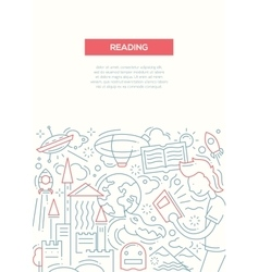 Reading - line design brochure poster template A4 vector image