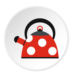 Red heating kettle with white polka dots icon vector