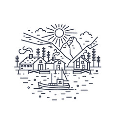 round landscape with ship sailing in sea houses vector image