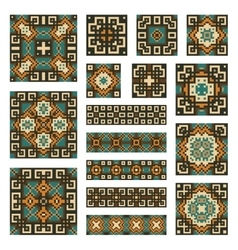 Set collections of geometrical borders and tiles vector image