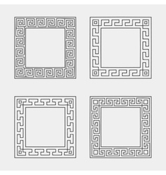 set of four Square meander frames vector image