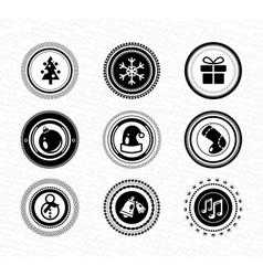 Set of vintage retro black labels christmas vector