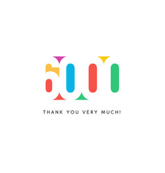 Six thousand subscribers baner colorful logo for vector