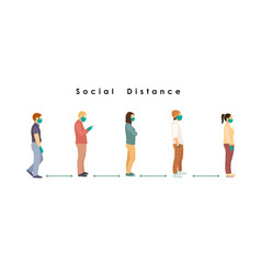 Social distance full length cartoon sick vector