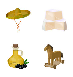 Sombrero cheese and other web icon in cartoon vector