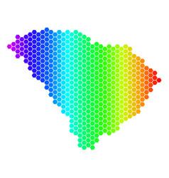Spectrum hexagon south carolina state map vector