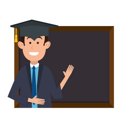 student graduated with chalkboard vector image