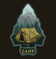 Summer camping colorful vintage label vector