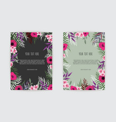 Summer floral greeting card with blooming garden vector