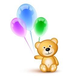 Teddybear holding balloons vector