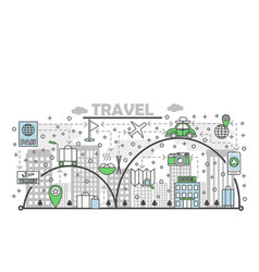 travel flat line art vector image