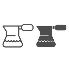 turkish coffee pot line and glyph icon cezve for vector image
