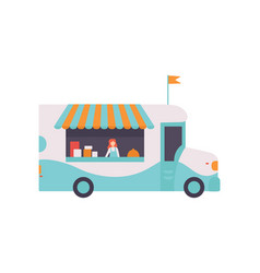 van shop with fast food drinks and seller street vector image