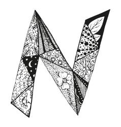 Vintage monogram n doodle alphabet character vector
