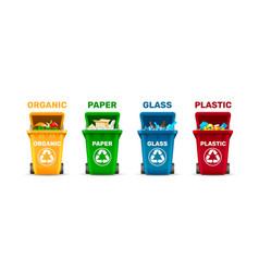 waste bins waste sorting organic plastic glass vector image