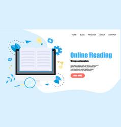 Webpage template flat design open book vector