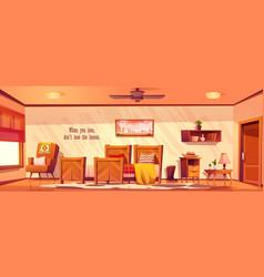 Wild west bedroom empty interior in rustic style vector