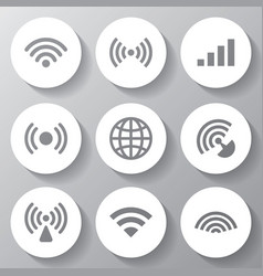 Wireless white icons set vector