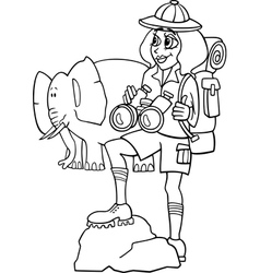 woman on african safari for coloring book vector image