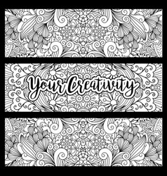 horizontal flyers with floral pattern vector image vector image