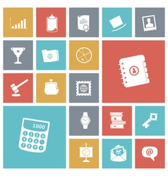 icons tile business work vector image vector image