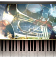 abstract grunge blue background with piano and vector image