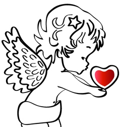 Angel with a heart vector image vector image