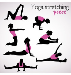 Beautiful set of yoga poses vector image