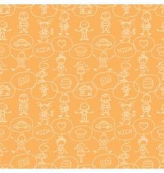Children thinking seamless pattern background vector image