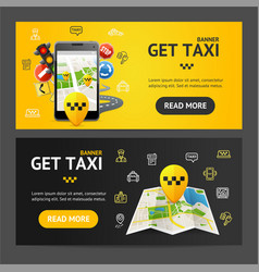 get taxi service banner horizontal set vector image vector image