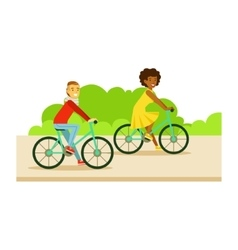 Guy And Girl Riding Bicycles Part Of People In vector image vector image