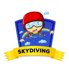 Label design with man doing skydiving vector image