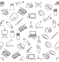 doodle seamless pattern with art pictures vector image
